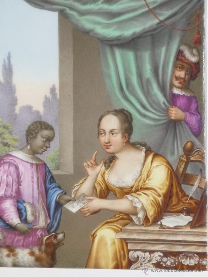 Antigüedades: Placa de porcelana pintada - Foto 2 - 45954035