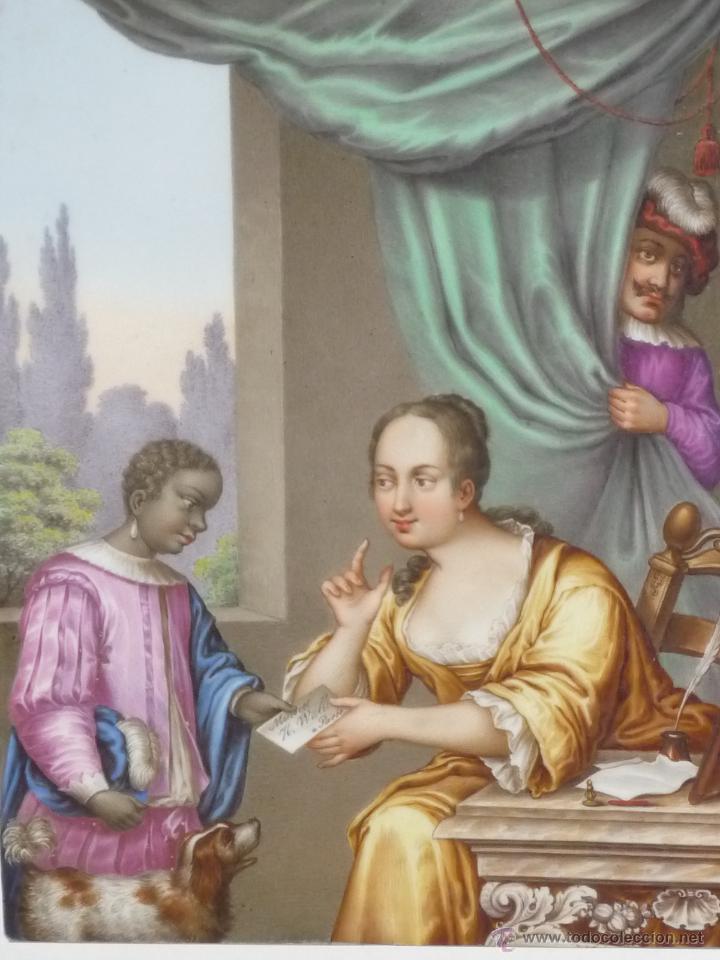 Antigüedades: Placa de porcelana pintada - Foto 3 - 45954035