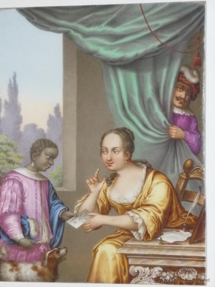 Antigüedades: Placa de porcelana pintada - Foto 4 - 45954035