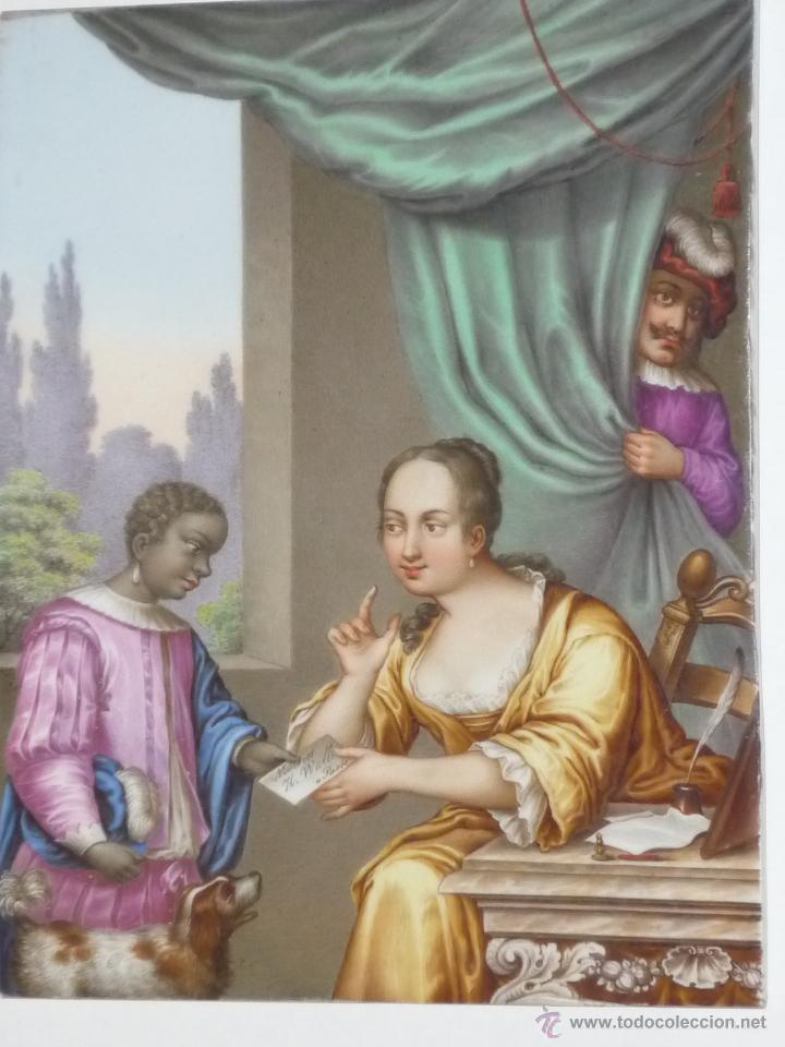 Antigüedades: Placa de porcelana pintada - Foto 5 - 45954035