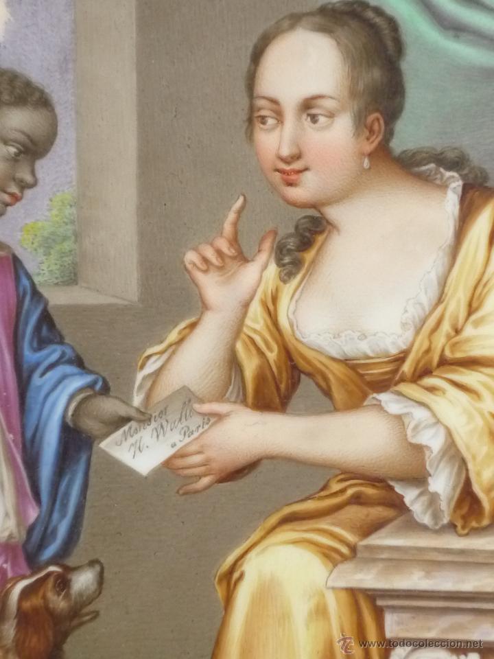 Antigüedades: Placa de porcelana pintada - Foto 6 - 45954035