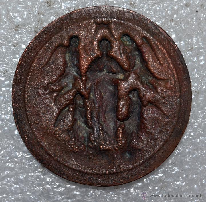 Antigüedades: PEQUEÑO MEDALLÓN EN COBRE REPUJADO DE PRINCIPIOS DEL SIGLO XX. - Foto 4 - 45957200