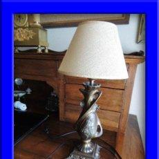 Antigüedades: PRECIOSA PANTALLA LAMPARA MODERNISTA DE CALAMINA. Lote 36125693