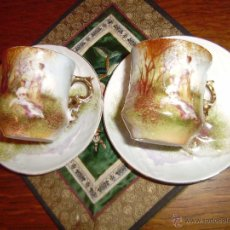 Antigüedades: LOTE DE DOS JGOS. DE TAZA + PLATO DE CAFE.PORCELANA EUROPEA. Lote 45995172