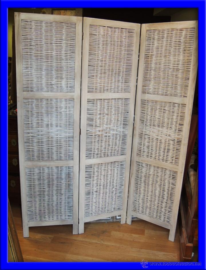 Biombo de mimbre de tres hojas comprar muebles auxiliares antiguos en todocoleccion 39506223 - Biombos de mimbre ...