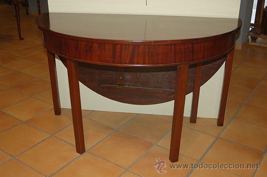Antigua mesa madera de caoba redonda plega comprar - Mesas antiguas de cocina ...