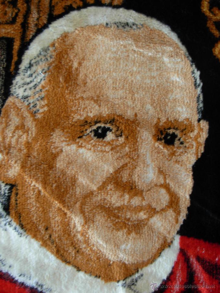 Antigüedades: Tapiz de su santidad el Papa Juan XXIII. Años 60. Medidas 103cm X 48cm - Foto 7 - 46025230