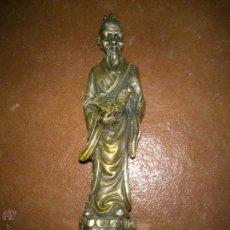 Antigüedades: ANCIANO ORIENTAL DE METAL BASE DE MARMOL. Lote 46029928