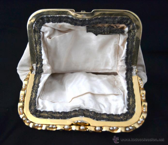 Antigüedades: ANTIGUO BOLSO DE MANO SEÑORA * CIERRE DORADO CON PERLAS FANTASIA * BELLO INTERIOR - Foto 9 - 46041636