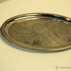 Antigüedades: BANDEJA PLATEADA, OLVALADA, CON FONDO GRABADO. 30X24CM. Lote 46043031