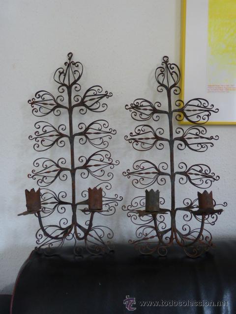 Portavelas de hierro de forja para pared antigu comprar - Portavelas de hierro ...