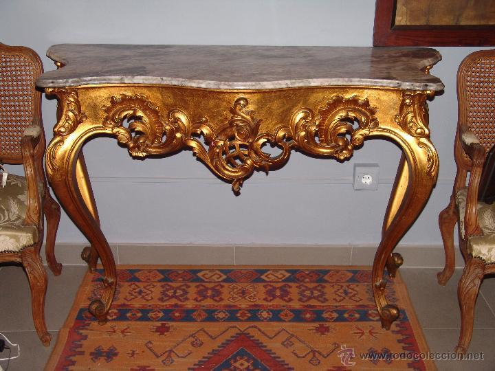 MUY BONITA CONSOLA EN ORO FINO (Antigüedades - Muebles Antiguos - Consolas Antiguas)