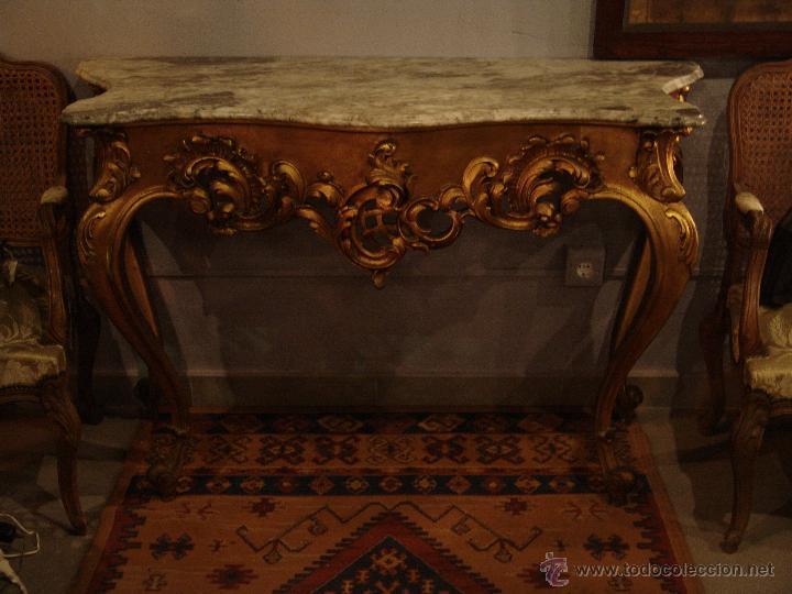 Antigüedades: MUY BONITA CONSOLA EN ORO FINO - Foto 2 - 46054431