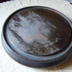 Antigüedades: BASE DE MADERA DE FANAL DE 29 CM. DIAMETRO. SIGLO XIX. Lote 46073988