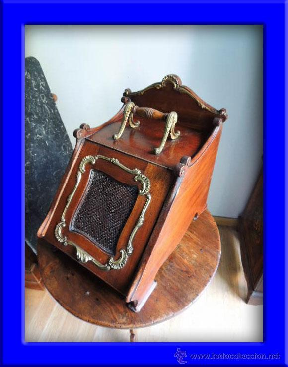 MAGNIFICA CARBONERA REVISTERO VICTORIANA DE CAOBA CON ADORNOS EN BRONCE INGLESA (Antigüedades - Muebles Antiguos - Auxiliares Antiguos)