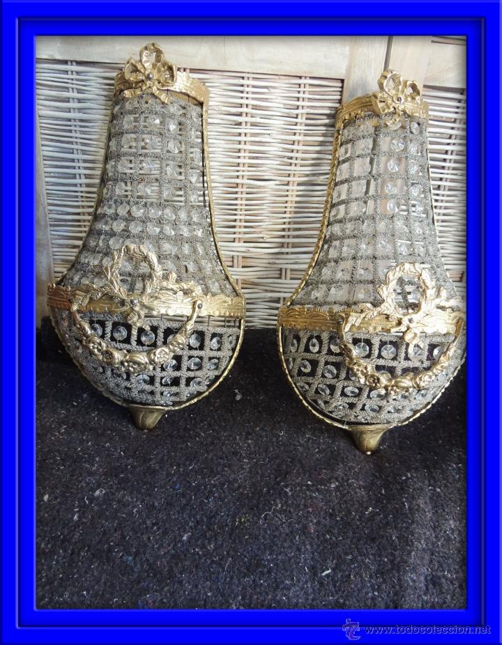 APLIQUES APLIQUE DE BRONCE DORADO Y CRISTALES. ALTURA 43 CM (Antigüedades - Iluminación - Apliques Antiguos)
