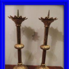 Antigüedades: HACHEROS, CANDELEROS IGLESIA EN BRONCE DORADO AL MERCURIO. Lote 42285327