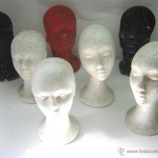 Antigüedades: LOTE 7 CABEZAS CORCHO ANTIGUAS ESCAPARATE SOMBREROS PELUCAS. Lote 46106590