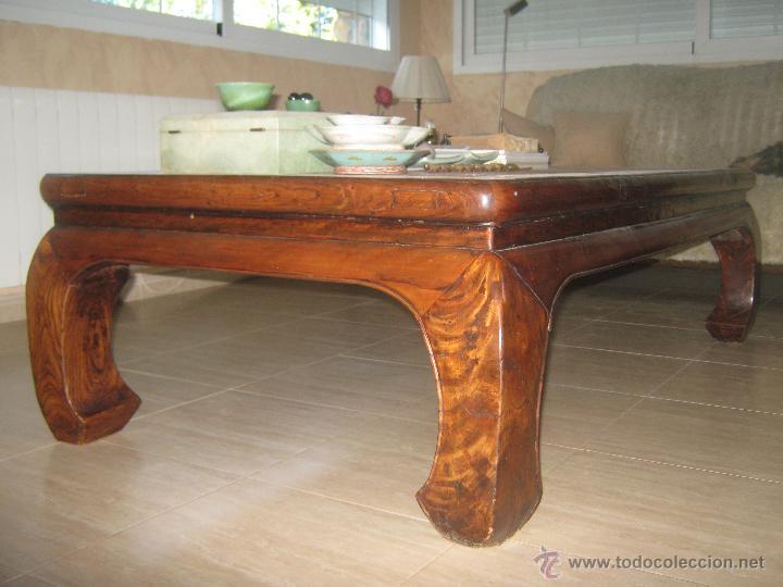 Mesa centro cama ta o cama de opio madera olmo comprar for Mesas de centro antiguas