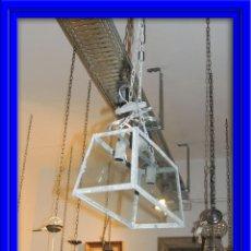 Antigüedades: LAMPARA FAROL DE TECHO DE CRISTAL Y METAL. Lote 45468068
