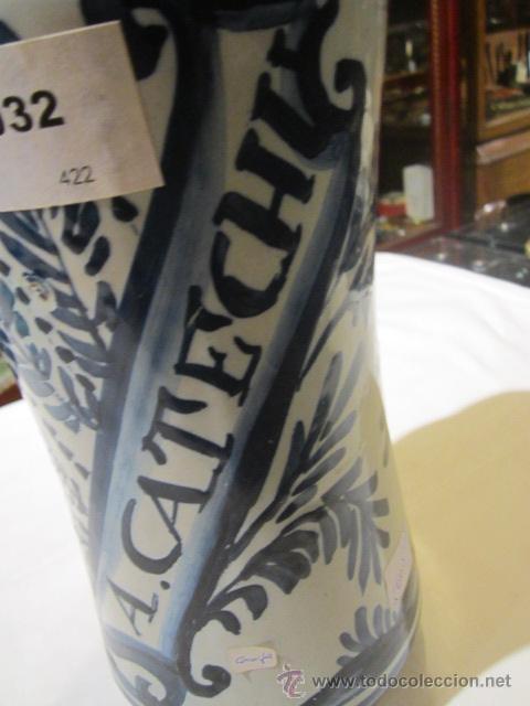 Antigüedades: Antiguo albarelo - bote de farmacia de cerámica. 26 cms. altura x 11 diámetro.Mas de un siglo - Foto 5 - 46141531
