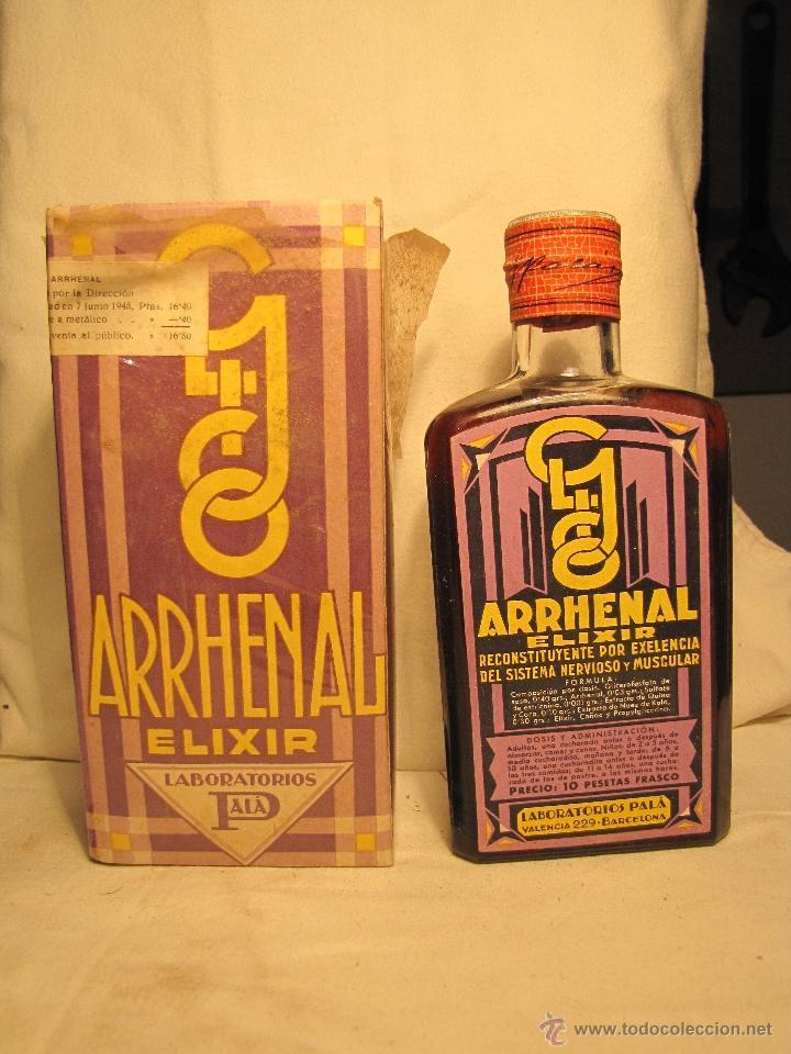 BOTELLA CON MEDICAMENTO DE FARMACIA. ARRENAL. LABORATORIOS PALÁ. BARCELONA (Antigüedades - Cristal y Vidrio - Farmacia )