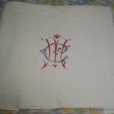 Antigüedades: ANTIGUA SABANA CON INICIALES BORDADAS MC. Lote 46142719