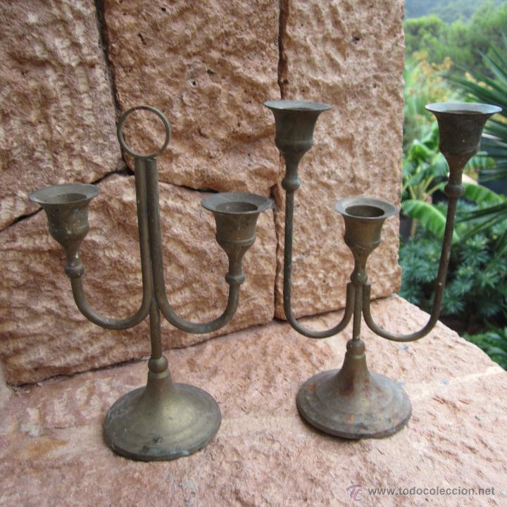 2 CANDELABROS (Antigüedades - Hogar y Decoración - Portavelas Antiguas)