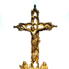 Antigüedades: CRUZ RELICARIO DE SOBREMESA - NEOGÓTICA - BRONCE SOBREDORADO - S. XIX. Lote 46153385