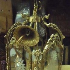 Antigüedades: ANTIGUA LAMPARA CON CRISTALES TALLADOS.. Lote 52571571