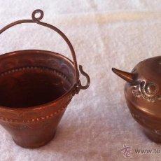 Antigüedades: PRECIOSO JUEGO CANTARO Y CUBO DE COBRE. Lote 46172698