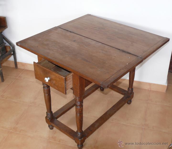 Mesa libro muy antigua madera y tiradores porce comprar for Mesa madera antigua