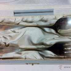 Antigüedades: JUEGO DE CUCHARA Y TENEDOR EN ALPACA PLATEADA. Lote 46174988