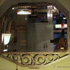 Antigüedades: ESPEJO DE FORJA PLATEADA RT DECO. FRANCIA. Lote 46191439