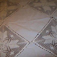 Antigüedades: MANTEL O TAPETE, LINO Y GANCHILLO 90X90CM. Lote 46192339