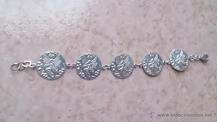 Antigüedades: Juego de colgante, pulsera, pendientes y anillo en plata de ley contrastada 925 y ninfa repujada. - Foto 8 - 46192834