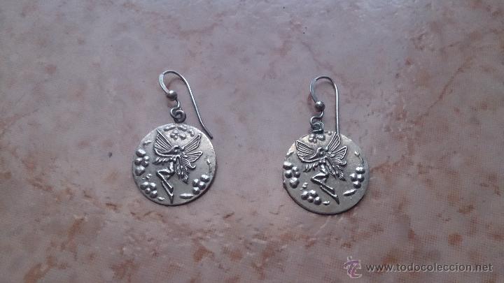 Antigüedades: Juego de colgante, pulsera, pendientes y anillo en plata de ley contrastada 925 y ninfa repujada. - Foto 12 - 46192834