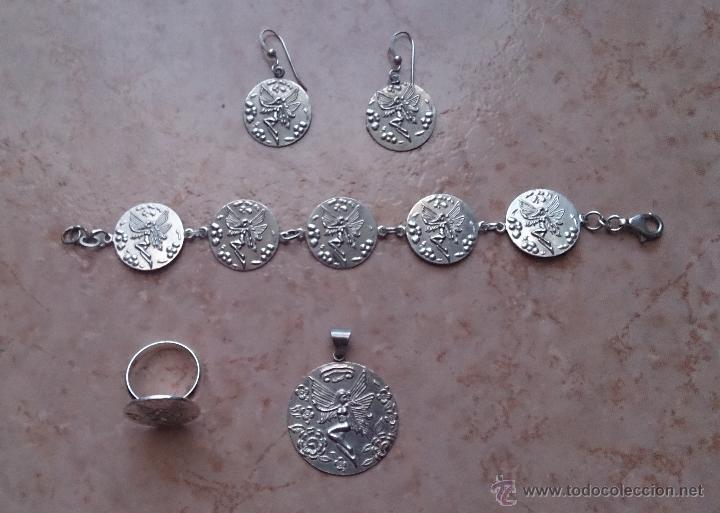 Antigüedades: Juego de colgante, pulsera, pendientes y anillo en plata de ley contrastada 925 y ninfa repujada. - Foto 17 - 46192834