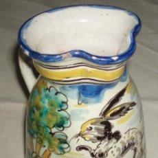 Antigüedades: JARRA DE TALAVERA FIRMADA EN LA BASE SASO. Lote 46194823