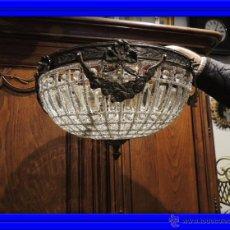 Antigüedades: PLAFON O LAMPARA DE TECHO DE CRISTALES Y BRONCE 30 CM DIAMETRO. Lote 63887383