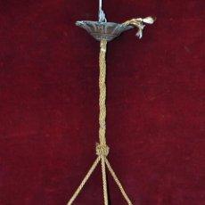 Antiquités: LAMPARA DE TECHO ÉPOCA ART NOUVEAU EN VIDRIO GLASEADO Y BRONCE. CIRCA 1930. Lote 46198544