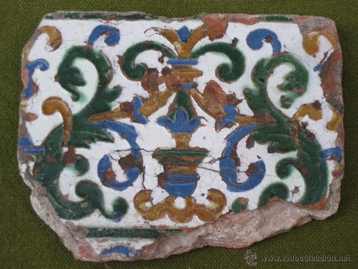 Antigüedades: AZULEJO ANTIGUO DE TOLEDO. TECNICA DE ARISTA. RENACIMIENTO - SIGLO XVI. - Foto 3 - 46227448