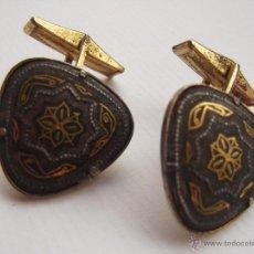 Antigüedades: ANTIGUOS GEMELOS DAMASQUINADO. Lote 39252805