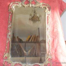Antigüedades: ESPEJO ANTIGUO .MARCO DE BRONCE Y ESPEJO BISELADO.. Lote 46247306