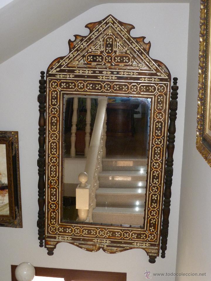 gran espejo madera con incrustaciones de nácar - Comprar Espejos ...