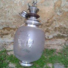 Antigüedades: LAMPARA TIPO ISABELINA FUNCIONANDO CRISTAL,METAL Y MADERA. Lote 46285954