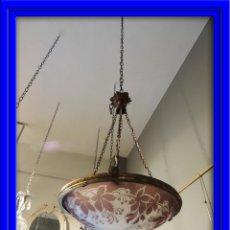 Antigüedades: LAMPARA DE TECHO DE CRISTAL AL ACIDO ANTIGUA. Lote 43796252