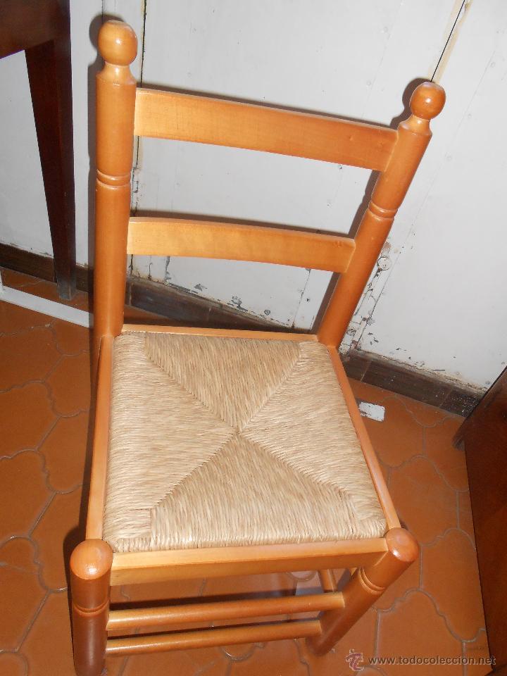 Antigüedades: Silla baja -Madera y enea - Foto 2 - 46292128