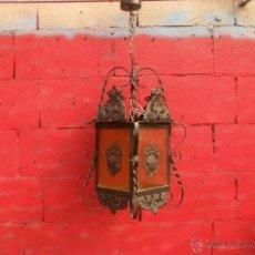 Antigüedades: ANTIGUO FAROL,HIERRO Y CHAPA,CABLEADO NUEVO,GRAN TAMAÑO. Lote 46294286