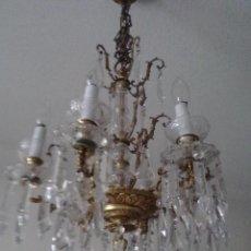 Antigüedades: ANTIGUA LAMPARA DE CRISTAL Y BRONCE. Lote 46314645